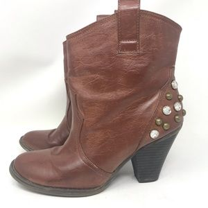 Mia Ankle Boots Studs Tan Brown Size 6